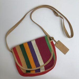 Leather canvas multicolored stripe rainbow purse